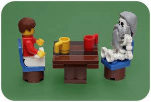 minifigs at table