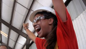 happy girl in hard hat